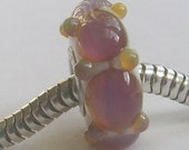 OOAK Handmade Lampwork European Charm Bead with Double Helix Silver Glass - SRA - Fits Troll/Biagi etc