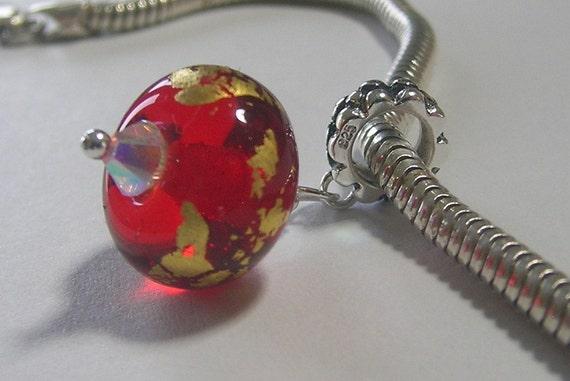 OOAK Handmade European Charm Red and Gold Leaf Dangle Bead - SRA - Fits Troll/Biagi etc