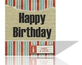 Greeting Card man or boy birthday Printable striped  with torn element