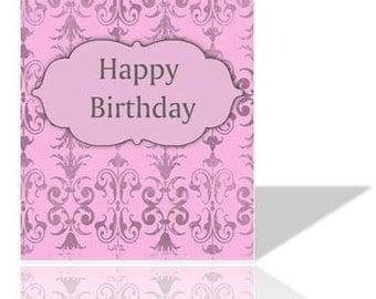 Digital Birthday Card / Pink / Ornate / DIY/ Printable / 5x7
