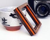 You Are Such A Square Bangle - custom colour wood / acrylic orange geometric bracelet