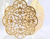 Large Gold Filigree Earrings- Middle Eastern Earrings- Gold Stamped Earrings- Matte Gold Filigree Medallion Earrings- EG-F1