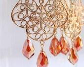 Gold Filigree Teardrop Crystal Chandelier Earrings- Gold Filigree Earrings- Middle Eastern Earrings- Indian Earrings- EG-FT1