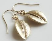 Small Leaf Earrings- Matte Gold Leaf Earrings- Matte Silver Leaf Earrings- Single Leaf Earrings- Leaf Earrings- EGS-L1