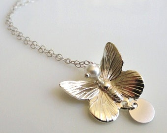 SALE Flutter  ...small sterling silver butterfly pendant necklace. Also available in gold. Choose the accent color.