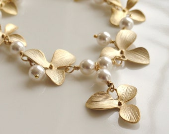 Gold Orchid Pearl Statement Necklace- Matte Gold Orchid White Pearl Statement Necklace- Matte Gold Flower Necklace- NG-OR5