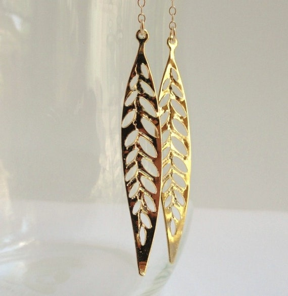 Heather   ...long gold dangling leaf leaves earrings. Also available in silver.