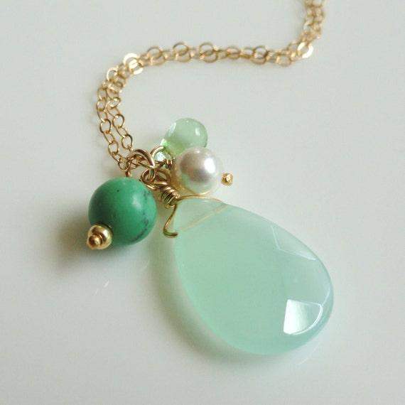 Spring  ...large pale mint green faceted chalcedony cluster necklace in gold. Also available in silver.