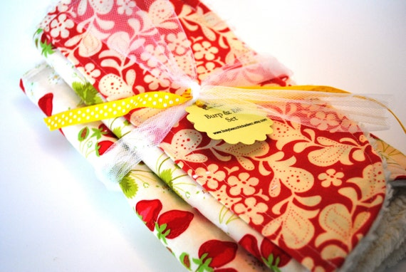 SALE - 35% off - 2 Piece Set - Strawberry Fields Baby Girl Gift Set - Bib and Burp Cloth Set