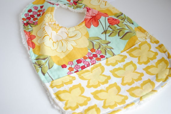SALE - 35% off - Baby Girl Boutique Bib - Chenille Bib - Picnic in the Park Butterflies