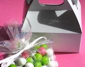 White Mini Party Favor Gable Boxes - Set of 18- SALE