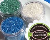 Sugar Crystal Sprinkles in White, Blue and Green - 3 itty bitty mini jar pack (1 oz jars)