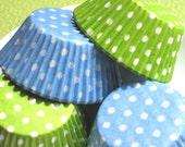 Lime and Baby Blue Polka Dot Cupcake Liners  (50)