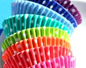 Bulk Rainbow Polka Dot Cupcake Liners - 8 colors (192 count pack - 24 each color) LAST 8 COLOR PACK