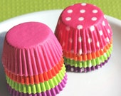 Mini Sherbet Cupcake Liners in Solids and Polka Dots - 4 colors (160 count - 20 of each and style)