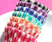 Mini Gingham Check Cupcake Liners - assorted pack of 7 colors (140)