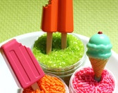 Cupcake Picks - Popsicle and Ice Cream Cone - Summer Fun Set (set of 12) SALE