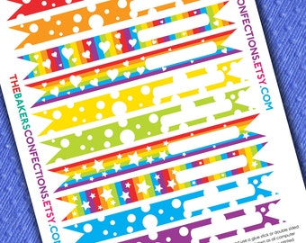 PRINTABLE Rainbow Straw Flag Toppers in BOYS Rainbow Colors - DIY - Blank Fill In - Instant Download