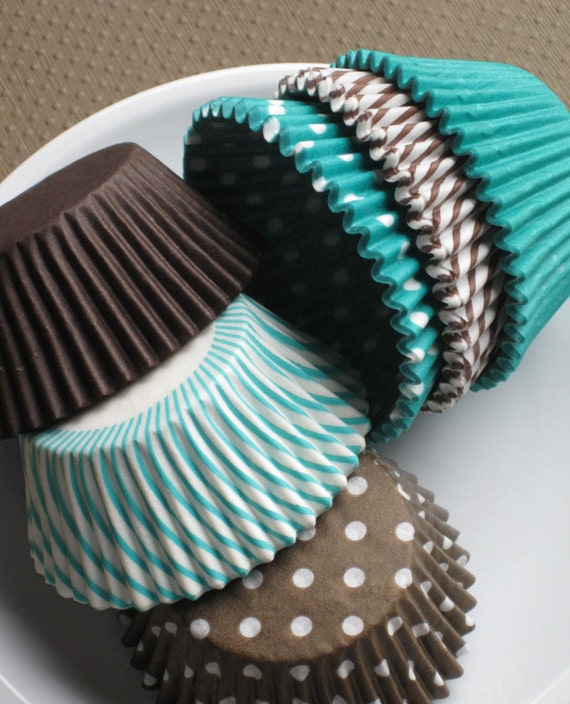 Brown and Jade Green Cupcake Liners in solids, stripes and polka dots (108 - 18 of each) LAST SET