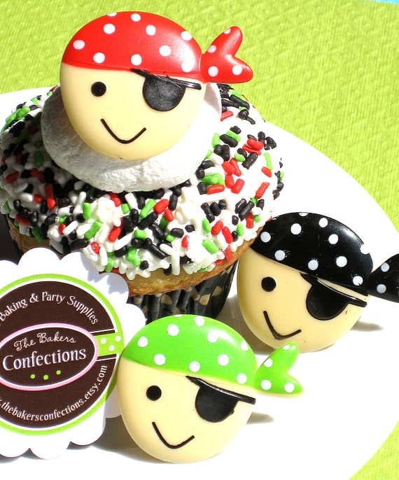 Pirate Cupcake Topper Rings - Pirate Party Favors (set of 24)