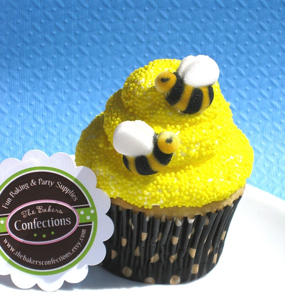 Sugar Bumble Bee Cupcake Toppers - Sweet As Can Bee (set of 24)