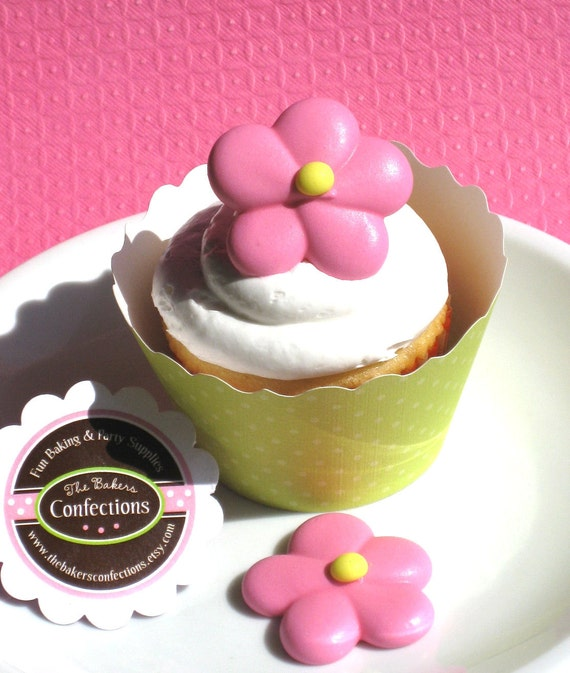 Pink Flower Cupcake Toppers made of Royal Icing (24 Count)
