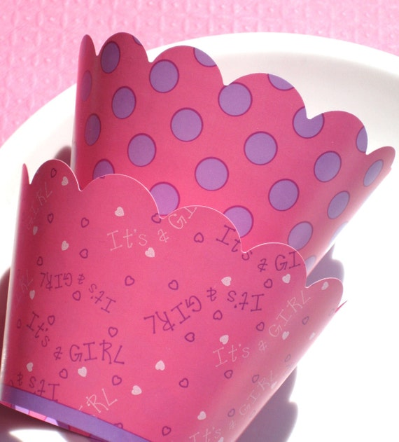 It's a Girl Cupcake Wrappers - Set of 10 Reversible Wrappers - SALE CLOSEOUT