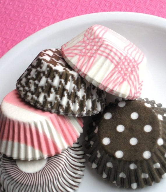 Mini Baby Pink and Brown Cupcake Liners Assorted Pack - 6 styles (100 count)