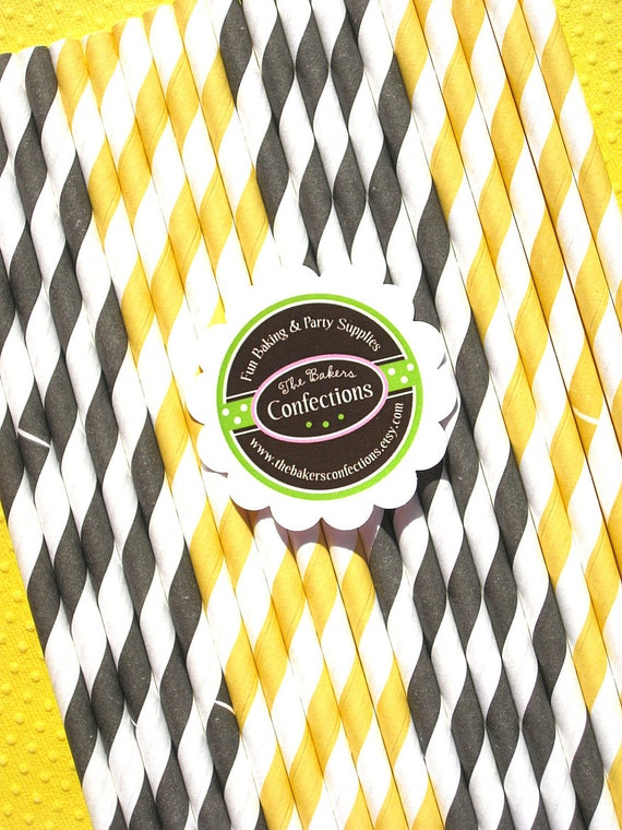 Black and Yellow Stripe Paper Straws - Sweet As Can Bee - with Printable DIY Flag Topper (30 count)