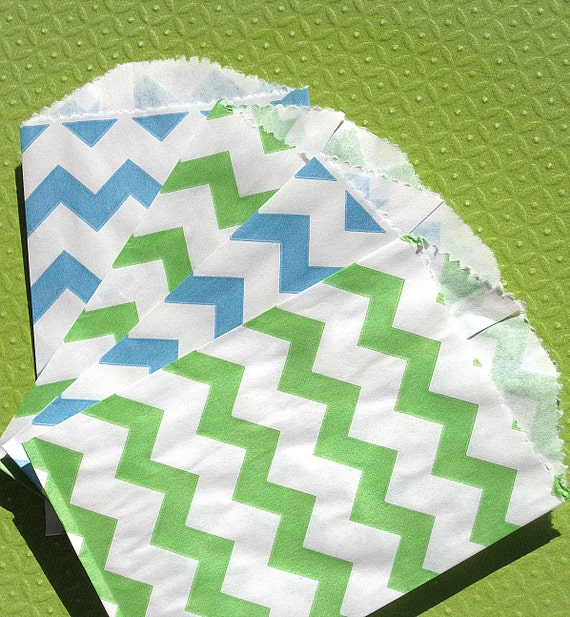 Mini Chevron Paper Favor Bags in Lime and Blue - Ocean Breeze Collection (set of 20)