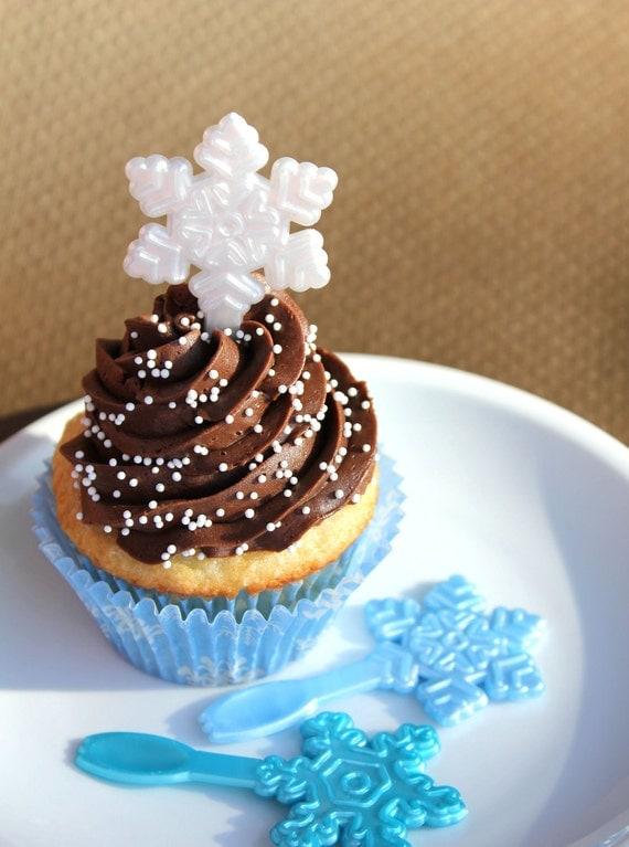 Snowflake Cupcake Topper Picks (set of 24) SALE