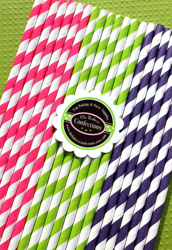 Striped Paper Straws- Girls Neon Fun Collection with DIY Printable Flag Toppers (30 count)