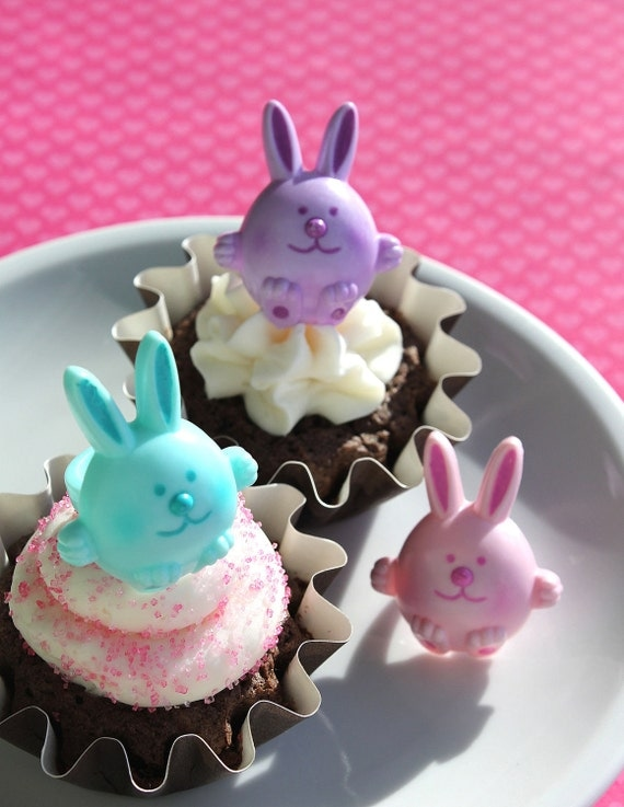 Bunny Cupcake Ring Toppers in Pink, Aqua and Purple (set of 24) SALE - LAST SET