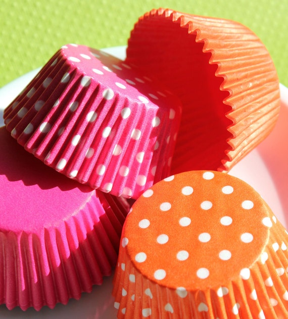 Bulk Pink and Orange Cupcake Liners in Solids and Polka Dots (144 COUNT)