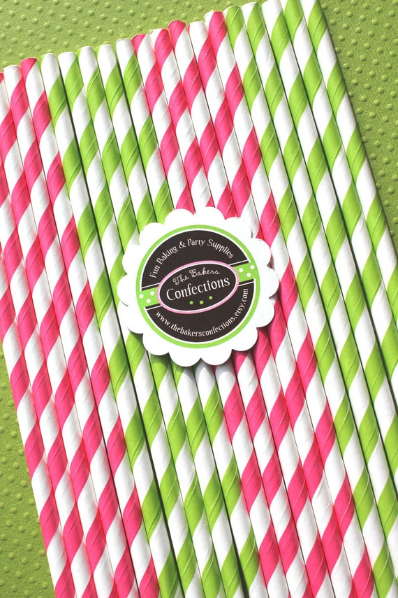 Stripe Paper Straws in Hot Pink - Lime Green with Printable Birthday DIY Flag Toppers - Sweet Pea Collection  (30 count)