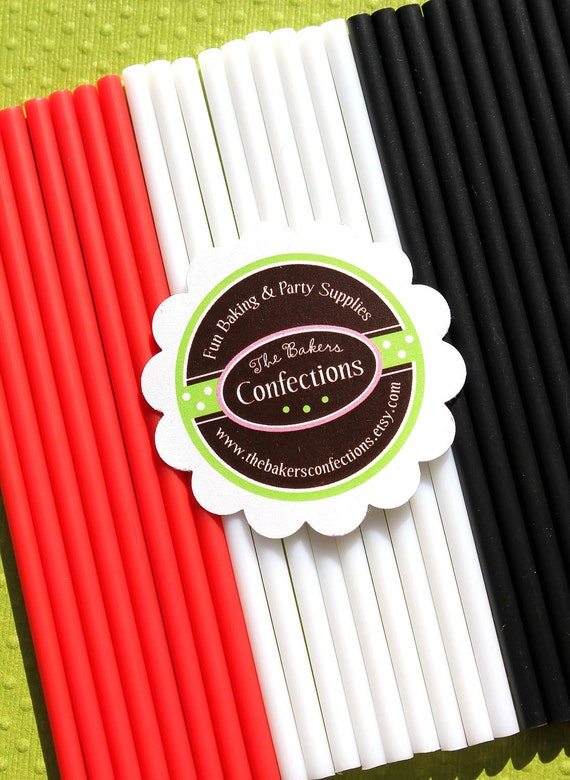 "4.5 Inch Cake Pop Lollipop Sticks in Red, White, Black  - 4.5"" Plastic Sticks - Little Ladybug Collection (30 count)"