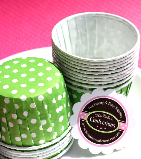 SALE Polka Dot Baking Cups In Lime Green - Candy Cups, Ice Cream Cups, Nut Cups- Perfect for Cupcakes, Muffins and Candy (20 Count)