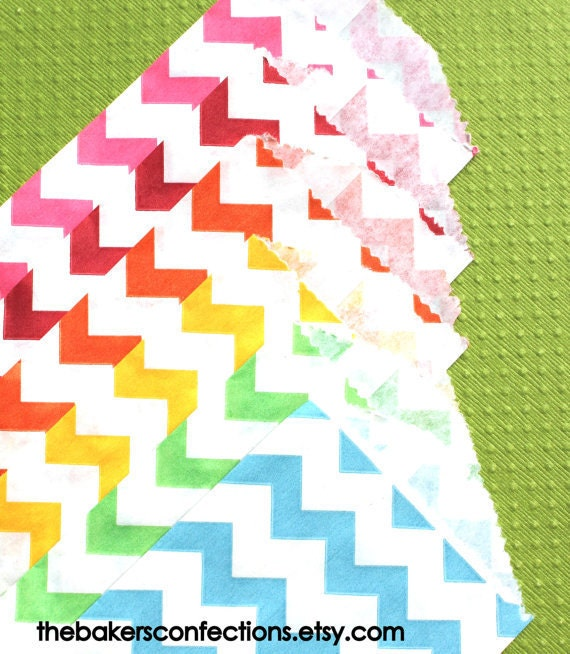 Rainbow Colored Chevron Paper Favor Bags - 6 color set (set of 36 - 6 each color)