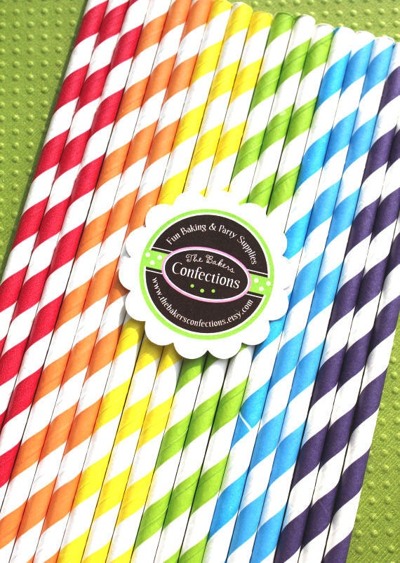 Paper Straws - BOYS Rainbow Stripes with Printable DIY Flag Toppers (30 count)
