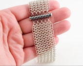 Unisex Chain Maille Sterling Silver Silk micro bracelet