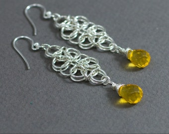 Citrine Chainmaille Earrings - Sterling silver and Citrine gemstone earrings