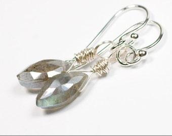 Labradorite Shard Sterling Silver Earrings