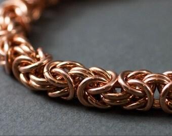 Copper Chain Bracelet - 14g Byzantine Chain maille Bracelet