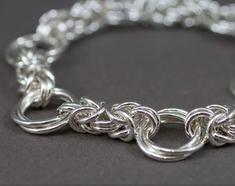 Byzantine Love Knots sterling silver chainmaille bracelet