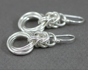 Sterling Silver Byzantine Love Knots Chainmaille Earrings