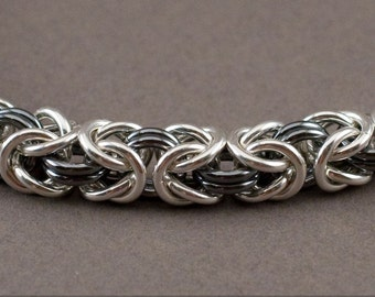 Yin Yang Byzantine Bracelet 16g Medium Black and White Sterling Silver Chainmaille