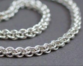 Unisex Jens Pind 18g Necklace Chain. Sterling silver chainmaille necklace.