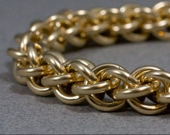 Spiral Gold Filled Chain Bracelet, 12g Jens Pind Chainmaille, 14k Gold Fill, Handmade, Statement