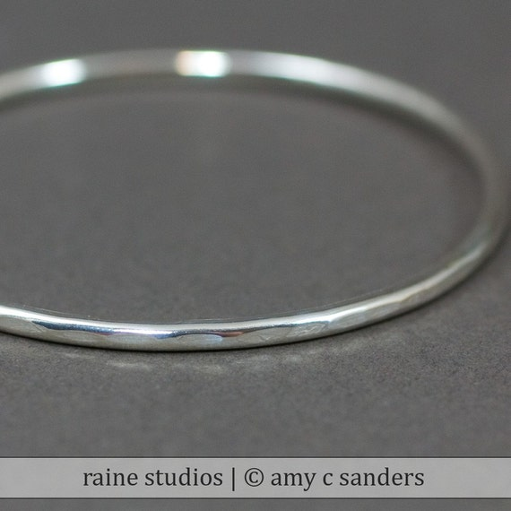 Thick Hammered Sterling Silver Stacking Bangle
