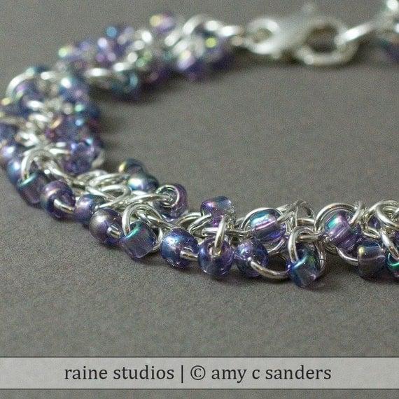 Purple Ripple  Bracelet. Sterling silver chainmaille bracelet